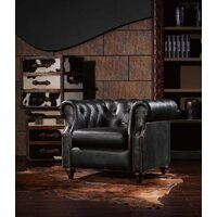 MAYFAIR BLACK ANTIQUE LEATHER CHAIR