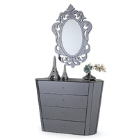 EDGE GREY MIRRORED CHEST OF DRAWERS