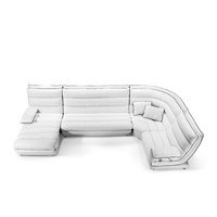 JULIETTE WHITE LEATHER LOUNGE SUITE - 4 SEAT CORNER PLUS CHAISE