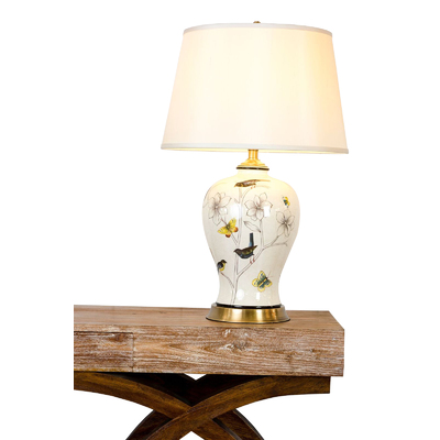 WHITE ROSE PORCELAIN TABLE LAMP