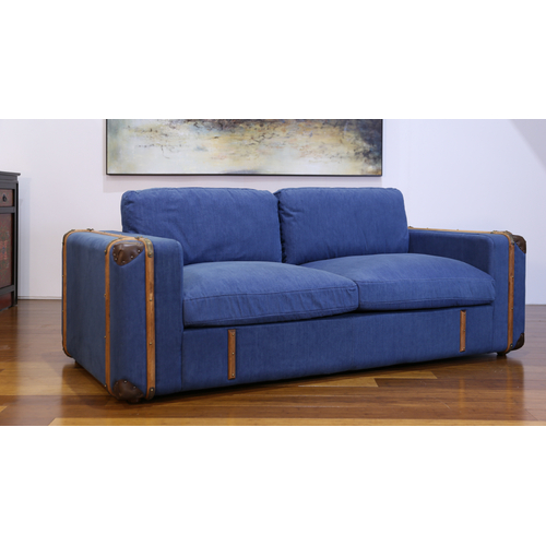 SIA | 3-SEATER RUSTIC ECLECTIC DENIM LOUNGE