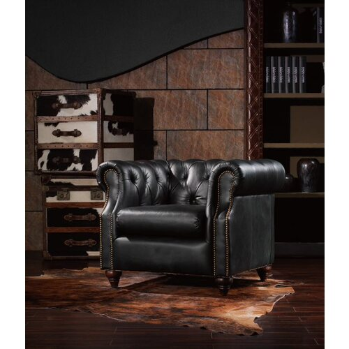MAYFAIR | CLASSIC ANTIQUE LEATHER CLUB ARMCHAIR - BLACK