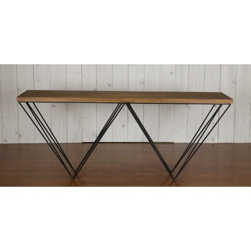 GEO TIMBER TOP AND METAL LEGS CONSOLE